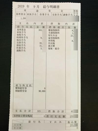 日産期間工の給料明細(2019年9月度)