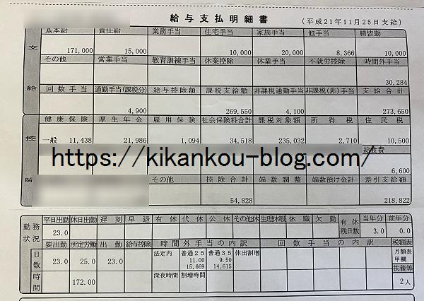 工場勤務の給料明細(プラスチック部品製造会社)